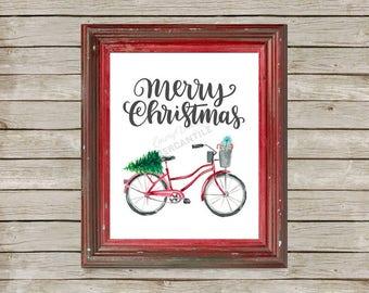 Merry Christmas red watercolor bicycle digital printable art