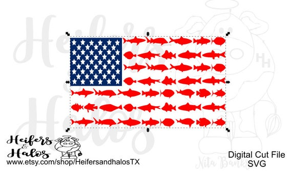 Shark and fish flag svg cut file for cricut and silhouette for American flag fish