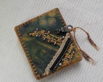 E601 Abundance and Joy! Journal - Resist Dyed Handmade Felt, Coptic Stitched