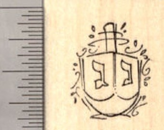 Small Hanukkah Dreidel Rubber Stamp, Chanukah Festival of Light A19714 Wood Mounted
