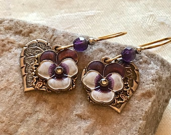 Multilayer Metal Pierced Dangle Earrings with Purple Pansies and Hearts