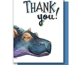 Thank You Happy Smiling Hippo Thanks Card