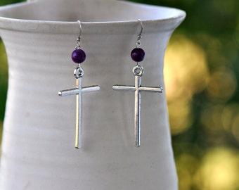 Large Cross Earrings- Cross Earrings- Purple Earrings- Dangle Earrings-  Boho Earrings- Hippie Earrings- Boho Jewelry- Gift for Her