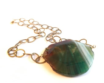 Green Statement Necklace - Green Gold - Pendant Necklace