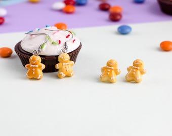 Cute Gingerbread Earrings Fake Food Jewelry  Polymer Clay food Gingerbread man Cookie Studs miniature food jewelry polymer clay jewelry