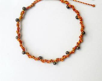 Macrame anklet Beaded anklet Copper beads Surfer anklet Earthy jewelry Summer accessories Beach anklet Gypsy anklet Wax string Waxed cord