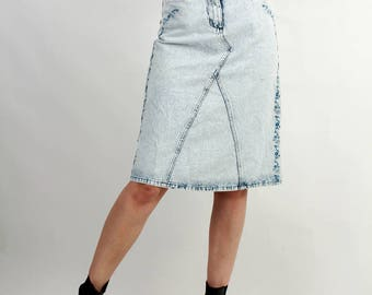 SALE ! Upcycled Jean Skirt / Denim Skirt / Acid Wash Skirt / Flared Skirt / A-line Skirt Size S