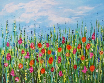 Fine Art Original Painting, Wildflower Meadow, 11x14.5, acrylic hand painted, colorful flower field, impressionism