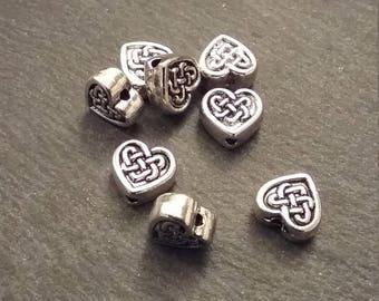 8 or BULK 30 Celtic Knot 8.5mm Heart Beads Antique Silver