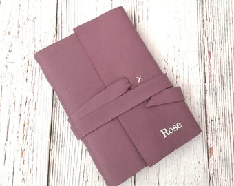 Personalised Leather Notebook, Leather Journal, Personalised Travel Journal, Bridesmaid Gift, Purple leather, mothers day personalized