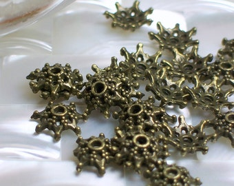 24pcs 9mm Bead Caps Antiqued Brass tone 7 point spacers Base Metal Silver Plated Jewelry Jewellery Craft Supplies Findings