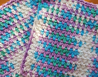 Handmade crochet washcloths, dishcloths, rags, wipes or pot holders 100% cotton set of 2