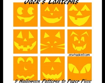 Jack's Lanterns - 9 Jack-o-Lantern Halloween quilt blocks to paper piece