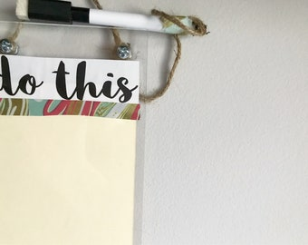 to-do dry erase sign / reusable to do list / small dry erase board + marbled / erasable to-do list / home organization / small whiteboard