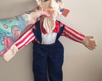 Vintage Uncle Sam America Plush Doll
