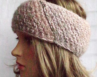 Soft merino headband in rose-grey