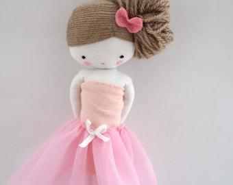 Ballerina rag doll - plush toy cloth art doll ballerina in pink tutu dancer ballet ooak handmade made to order