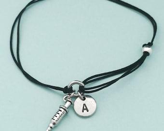 Injection cord bracelet, injection charm bracelet, adjustable bracelet, charm bracelet, personalized bracelet, initial, monogram