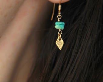 Sleeping Beauty Turquoise Earrings Dainty Gold Earrings Dangly Earrings Turquoise Drop Earrings Small drop earrings gold December Birthstone