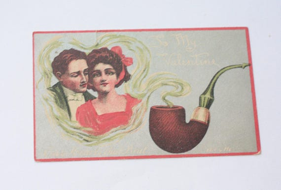 Antique Valentine Postcard To My Valentine Two Hearts That Beat as One
