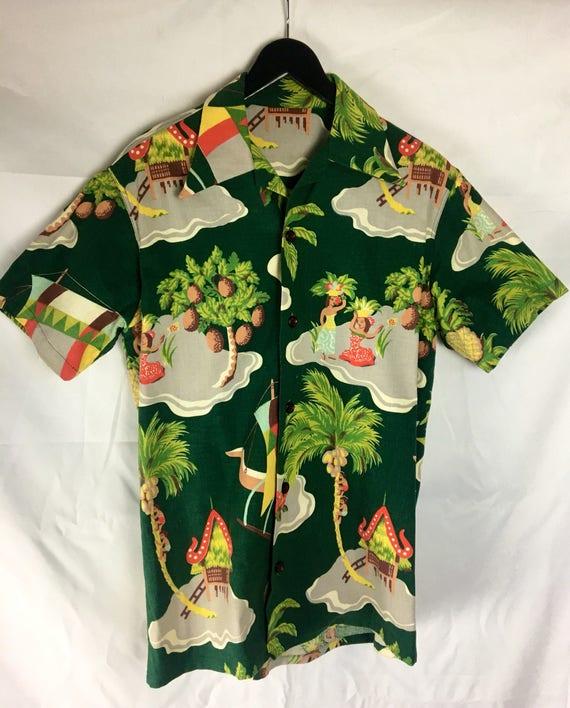 Vintage 1950s Mens Green, Yellow, Red Bark Cloth Tiki Shirt Medium