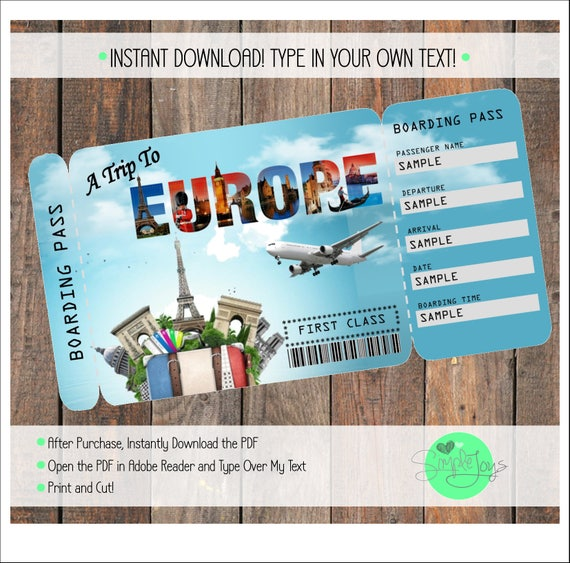 Printable Ticket to Europe Boarding Pass Customizable