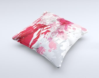 The Abstract Red, Pink and White Paint Splatter Pillow ink-Fuzed Decorative Throw Pillow