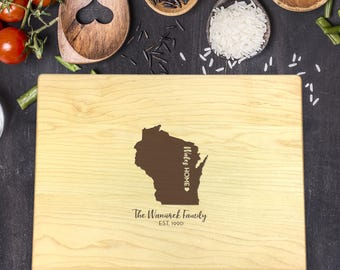 State Cutting Board, Wisconsin Cutting Board, City Cutting Board, Last Name Cutting Board, Housewarming Gift, New Home Gift, B-0018