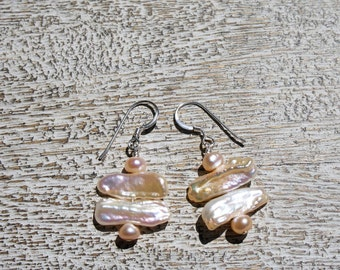 BIWA stick pearl earrings; Peach/pink freshwater button pearls- S.S.  Organic/Natural/Boho/contrast/pastel/soft color