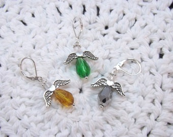 Faceted Glass Crystal Guardian Angel Stitch Markers