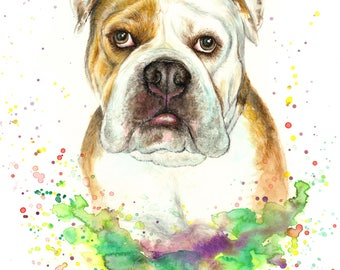 Custom Pet Portrait of your dog,  colourful illustration made with watercolours and pastels personalised painting bulldog dog or cat