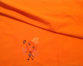 Vintage embroidered dish towel Vintage dish towel Orange flour sack dish towel