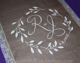 "Burlap Wedding Aisle Runner DEPOSIT, 4"" Lace sides Custom Hand Painted"