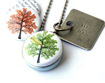 Treehugger TREE Locket Necklace -  Magnetic Necklace, Stamped Jewelry, Be Jewelry, Autumn Tree, Spring Tree, Green by Polarity, Eco Friendly