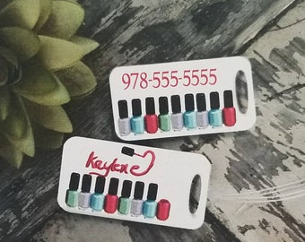 One double-sided nailpolish luggage tag Custom - Personalized with name, Color, Unique gift