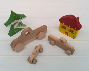 Wooden toys on wheels - Truck