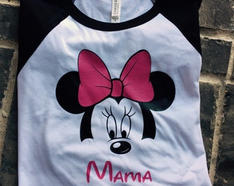 Minnie Mouse Mama Raglan Shirt / Disney Raglan Shirt / Disney Shirt / Disney Plus Size / Disney Mom Shirt / Free Shipping