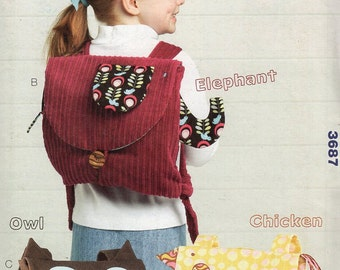 Free Us Ship Kwik Sew 3687 Child's Boy or Girl Owl Chicken Hen Elephant Animal Backpack School Bag Messenger Uncut Sewing Pattern ff