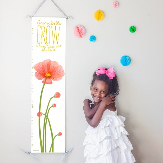 Personalized Grow Where You Are Planted red poppies canvas growth chart
