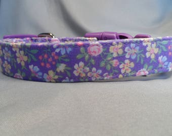 Purple Flower Dog Collar, Little Pink and Yellow Flowers