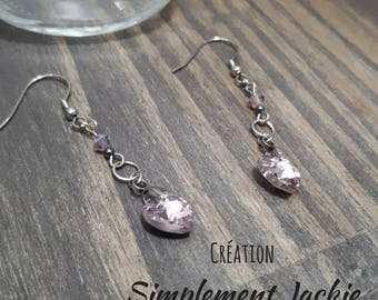 Simple and delicate stud earring, purple heart