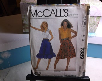 Flared Skirt with Ruffle Option Vintage Sewing Pattern McCalls's 7389 Size Medium