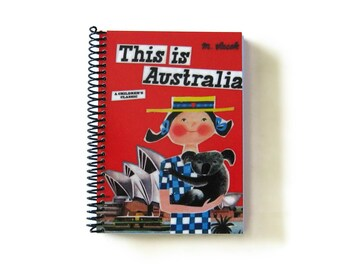This is Australia Notebook A5 Spiral Bound - Writing Travel Journal, Diary, 5x7 Inches Blank Sketchbook, Travelers, Cute, Handmade Notebook