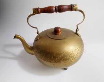 Vintage Brass Teapot Footed Etched Floral Wood Handle Kitchen Serving Decor Made in India