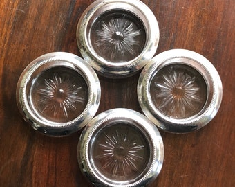 Frank M Whiting Sterling Silver and Glass Coasters - set of 4