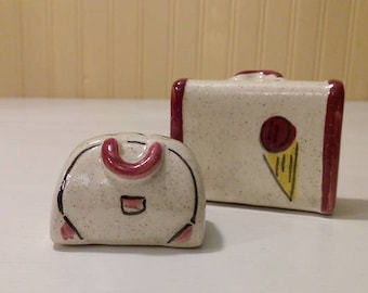 Collectible 1940s Japan Salt and Pepper Shakers Luggage Suitcase Bowling Bag Figurine