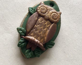 Owl on a Branch Brown and Green Handmade Polymer Clay Pendant
