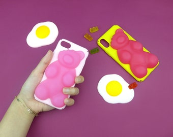 Gummy Jelly Bear Phone Case(Color: Light Pink), Unique jelly iPhone Case 6, iPhone 6s, iPhone 6+, iPhone 7, iPhone 7s, iPhone 7+, iPhone X