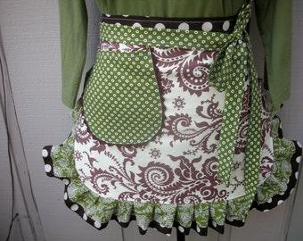 Aprons - Amy Butler Aprons - The Wood Fern and Ivory Apron - Handmade Ruffled Aprons - Annies Attic Aprons - AnniesAttic Aprons