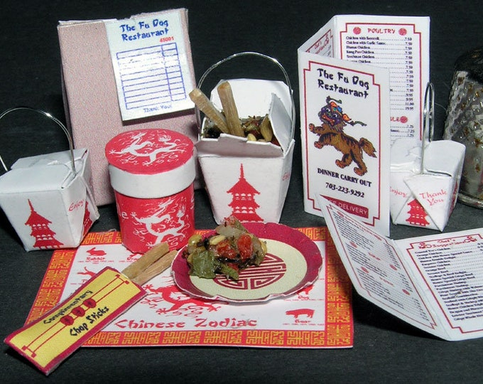 China fast food, Paperminis, Bastelkit of paper in miniature for the Dollhouse, the doll house, Dollhouse Miniatures # 40034